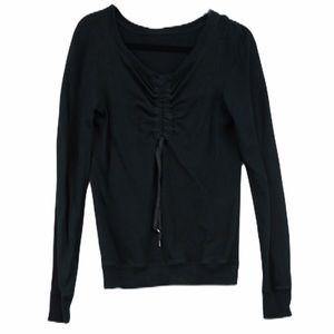 Lululemon black ruched crew neck sweater